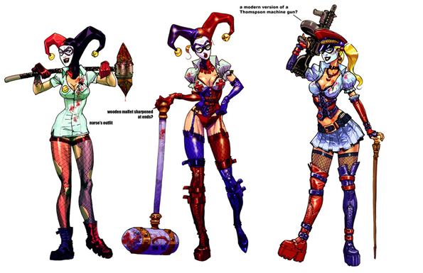 Harley incarnations by Chuckdee Amazing Concept Art For Arkham Asylum