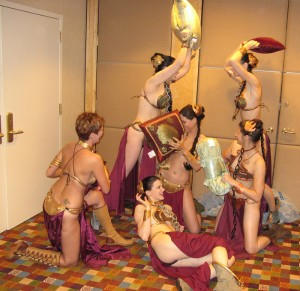 slave leia pillow fight 300x291 Nerd Photo: Jabba Made Of Snow