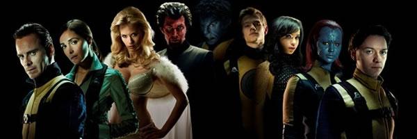 x men first class cast image Luscious Emma Frost In X Men: First Class Group Shot
