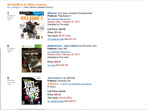 amazon2 Killzone 3 And BulletStorm Fight For Bragging Rights