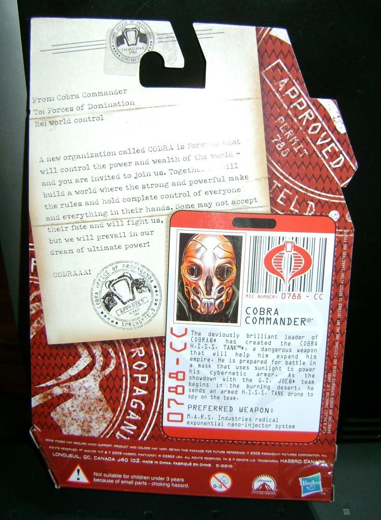 cc back 750x1024 Cobra Commander: Cancelled Mail Away!