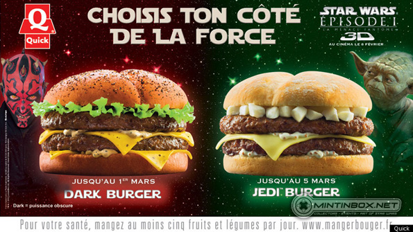 DARK BURGER QUICK Star Wars Burger Only In France