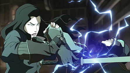 20120721103707Asami electroshocking the Lieutenant The Legend of Korra Season 1 Review/Analysis