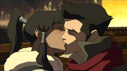 Mako and Korra kiss The Legend of Korra Season 1 Review/Analysis