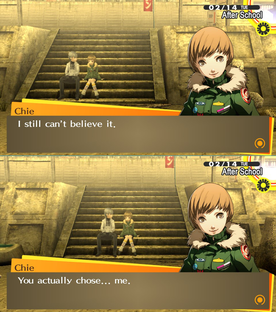 Chie choose Persona 4: The Golden; Pictorial!